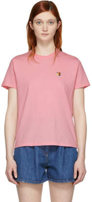 MAISON KITSUNÉ SSENSE Exclusive Pink Fox Head Patch T-Shirt