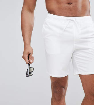 Asos DESIGN Tall Swim Shorts In White In Mid Length