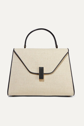 Valextra Iside Large Linen And Textured-leather Shoulder Bag - Beige