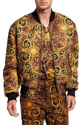 Versace Men's Leopard Baroque Reversible Bomber Jacket