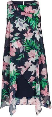 Evans Blue Tropical Print Overlay Dress