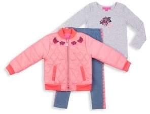 Betsey Johnson Baby Girl's Three-Piece Jacket, Top & Pants Set