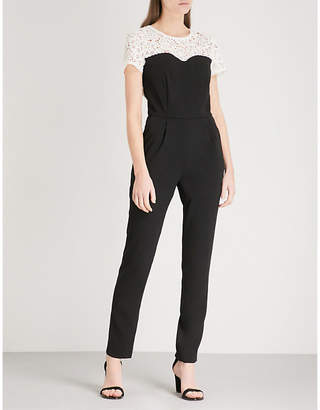 Claudie Pierlot Contrast-yoke crepe and lace jumpsuit