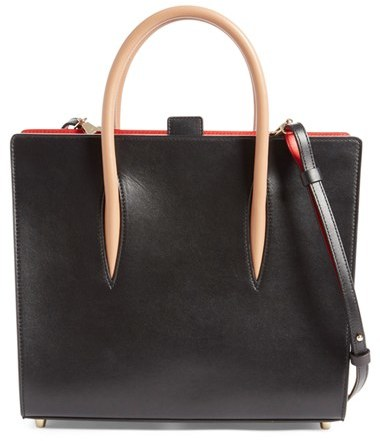 Christian Louboutin  Christian Louboutin 'Medium Paloma' Calfskin Leather Tote - Black
