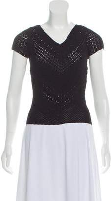 Spencer Vladimir Cap Sleeve Crocheted Top Black Spencer Vladimir Cap Sleeve Crocheted Top