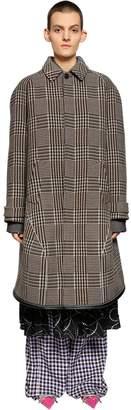 Balenciaga Oversize Wool Blend Prince Of Wales Coat