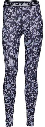 New Balance Womens Accelerate Printed Running Tight Leggings Elderberry