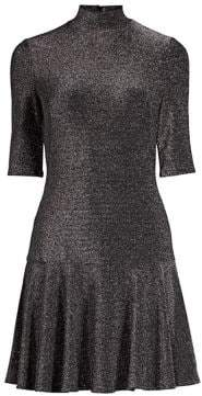 Black Halo Reeder Velvet Drop-Waist Mini Dress