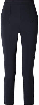 Cushnie et Ochs Cropped Paneled Stretch-crepe Slim-leg Pants - Midnight blue