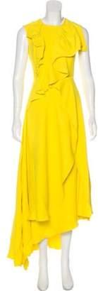 DELPOZO Draped Evening Dress Yellow Draped Evening Dress