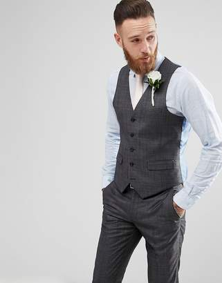 Harry Brown Winter Wedding Charcoal Tonal Skinny Fit Vest