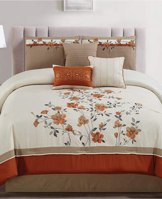Hallmart Collectibles Judith Spice 7-Pc. Embroidered Full Comforter Set Bedding