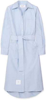 Thom Browne Belted Cotton Shirt Dress - Light blue