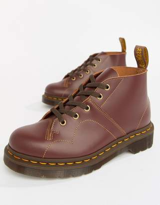 Dr. Martens Church Oxblood Leather Flat Ankle Boots