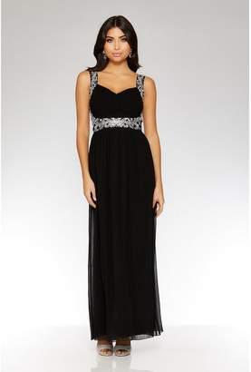 Quiz Midnight Blue Chiffon Embellished Maxi Dress