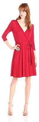Three Dots Women's 3/4 Sleeve Wrap Dress