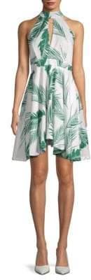 Tropical-Print Halter Dress