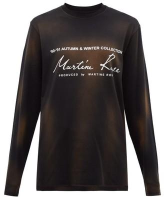 Martine Rose Logo Print Washed Cotton T Shirt - Womens - Black