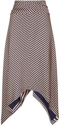 Jonathan Simkhai Asymmetric Striped Midi Skirt