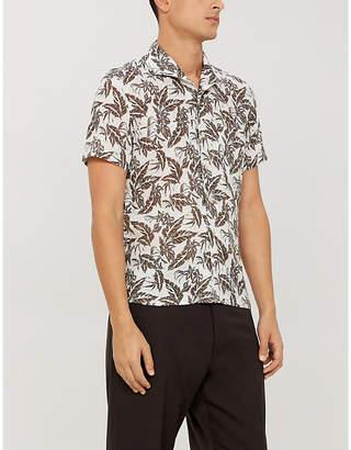 Corneliani Bowling leaf-print regular-fit linen shirt