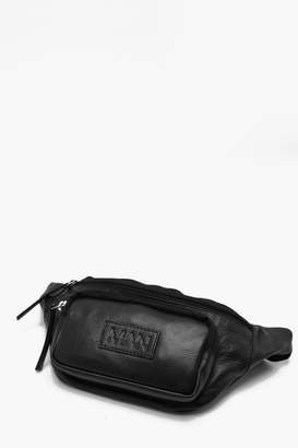 boohoo Real Leather MAN Patch Pocket Bum Bag