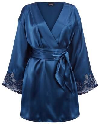 La Perla Maison Petrol Blue Silk Satin Short Robe With Frastaglio