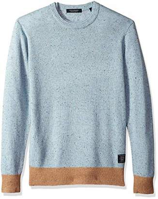Scotch & Soda Men's Crewneck Pullover in Wool Blend Quality with Neps