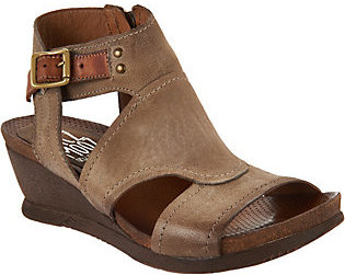 As Is Miz Mooz Leather Side Zip Wedge Sandals - Scout $96.95 thestylecure.com