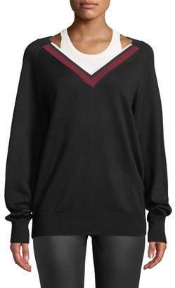 Alexander Wang Varsity Trim V-Neck Wool Sweater w/ Tank
