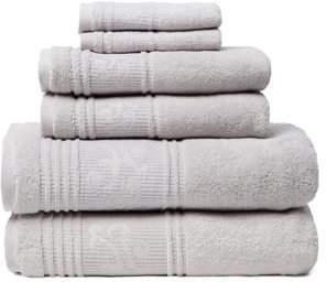 Leila Lintex 6-Piece 100% Turkish Cotton Bath Towel Set, Silver