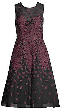 BCBGMAXAZRIA Women's Floral Embroidered A-Line Dress - Size 0