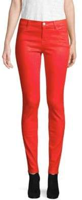 J Brand Mid-Rise Super Skinny Coated Pants