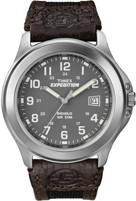 9dee0ef17 Timex Men's Expedition Metal Field Watch, Brown Nylon/Leather Strap