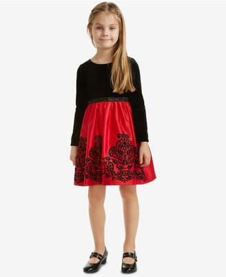 Rare Editions Toddler Girls Velvet Glitter Flocked Dress