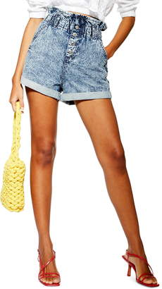 Topshop Acid Wash Paperbag Waist Denim Shorts