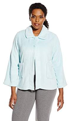 Casual Moments Women's Plus Size Bed Jacket-Peter Pan Collar Robe