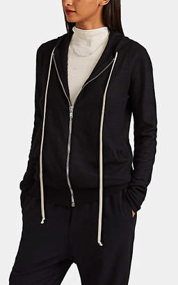 Rick Owens Women's Boiled-Cashmere Zip-Front Hooded Sweater - Black