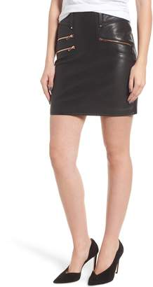 Hudson Jeans High Waist Moto Lambskin Leather Miniskirt