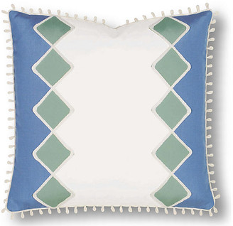 Milly 20x20 Outdoor Pillow - White/Blue - Celerie Kemble