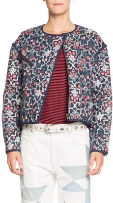 Etoile Isabel Marant Manae Floral Quilted Linen Moto Jacket