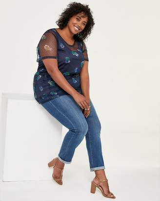 Printed Peplum Top with Mesh - d/C JEANS