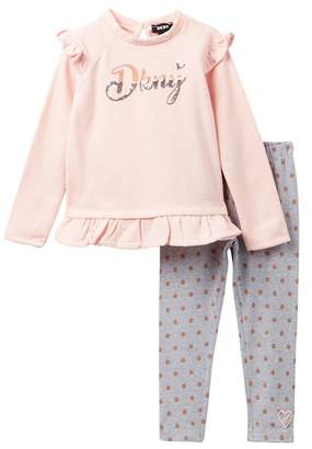 DKNY Brushed Super Soft Fleece Top & Leggings Set - 2 Piece (Toddler Girls)