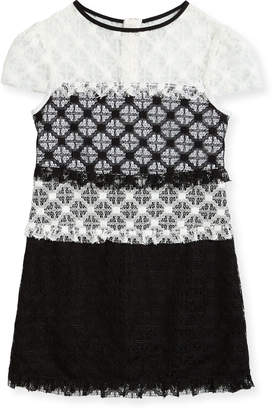 Milly Gabrielle Short-Sleeve Colorblock Lace Dress Size 4-7