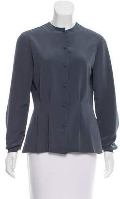 Halston Long Sleeve Button-Up Top