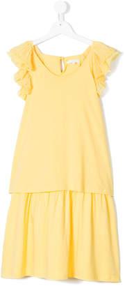 Chloé Kids TEEN scalloped ruffle trim midi dress