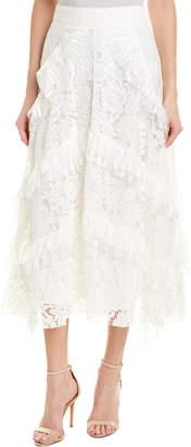 Champagne & Strawberry Ruffle A-Line Skirt