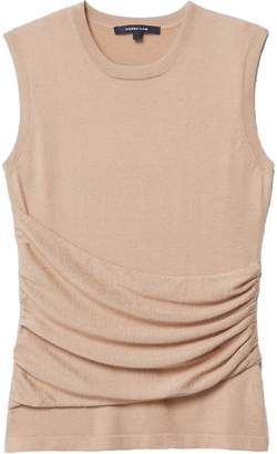 Derek Lam Sleeveless Gathered Top with Side Detail in Camel