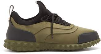 Valentino Low-top leather-trimmed satin trainers