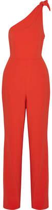 Diane von Furstenberg Knotted One-shoulder Crepe Jumpsuit - Red