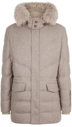 Corneliani Fur Trim Wool Parka
